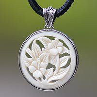 Leather and cow bone flower necklace - Wild Hibiscus - NOVICA