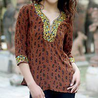 Silk blouse - Born in Summer - NOVICA