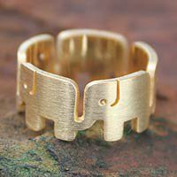 Gold plated band ring - Elephant Pride - NOVICA