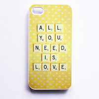 IPhone Case. Vintage Scrabble. All You Need Is Love. White Phone Case. IPhone 4 And 4S Accessory. Ye | Luulla