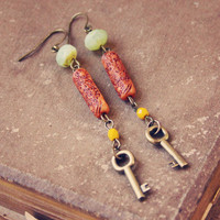 elise.  a pair of mint and rust beaded key by RootsandFeathers