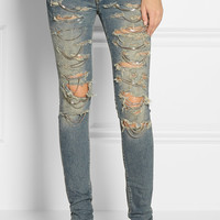 Saint Laurent | Shredded chain-embellished skinny jeans | NET-A-PORTER.COM