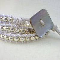 beaded leather wrapping bracelet in silver