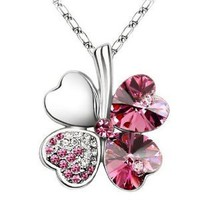 "Swarovski Elements Crystal Four Leaf Clover Pendant Necklace 19""-CN9034R"