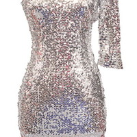 Mirror Ball Dress | One-Shoulder Silver Sequin Dresses | Rickety Rack