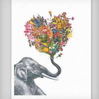 The Happy Elephant Colorful Art Print