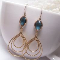 Montana Blue Infinity Teardrop Dangle Earrings With 14k Gold