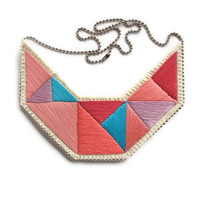 Colorblock bib necklace in bright pinks lavender and blue embroidered triangles geometric design