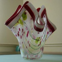 Red and White Glass Vase by zitas on Etsy