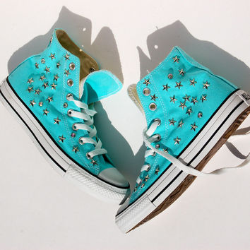 Star Studded Converse - Tiffany Blue - 8