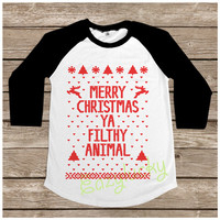 Merry Christmas Ya Filthy Animal Black - Ugly Shirt Geek Santa Claus Xmas Gift Women Long Sleeve Baseball Shirt Tshirt Jersey