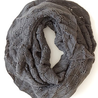 Vintage Dream Infinity Scarf, Charcoal