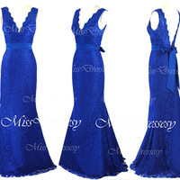 Mermaid Straps V neck Lace Royal Blue Prom Dresses, Lace Evening Dresses, Lace Evening Gown, Wedding Party Dresses, Lace Formal Gown