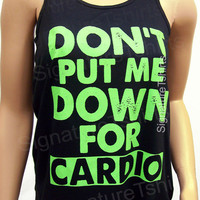 Don't put me down for cardio racerback tank. Crossfit tank. Workout tank top. Flowy Womens tank. Fitness tank. Gym clothing workout tank top