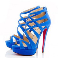 Christian Louboutin Balota 150mm Suede Sandals Blue