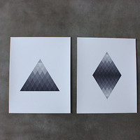 Triangle and Diamond Grade Set of 2 8 x 10 by thinkandinkstudio