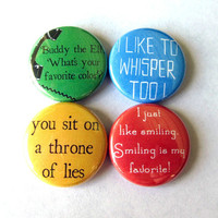 Buddy the Elf Pinback Button Set of 4 Pins Badges Like Smiling Movie Christmas