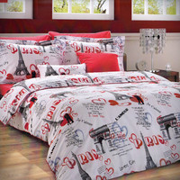 NEW DESIGN Custom King Size Paris Theme Printed on White Backround Ranforce Bedding Set with Red Sheet and Pillowcases