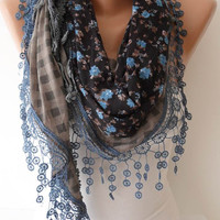 Blue and Gray Shawl Scarf with Trim Lace Edge - Headband - Lace and Cotton Fabric  Scarf