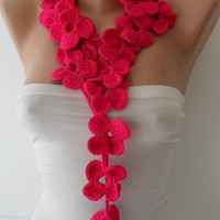 Winter Chic - Handknit flowered scarf -  Pink Scarf