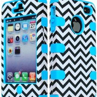 Bastex Hybrid Case for Apple iPhone 4, 4s - Baby Blue Silicone with Hard Black & White Chevron Pattern Shell