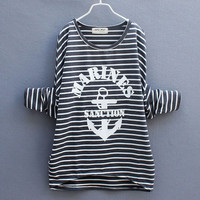 Fashion Nice Stitching Bat Sleeve Striped Sweater