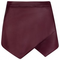 Jalisa Burgundy Leather Asymmetric Hem Mini Skort | Shelikes