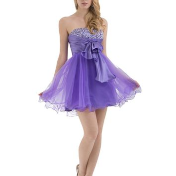 ésoldé A-Line Strapless Beading Pleats Short/Mini Cocktail / Prom / Homecoming Dresses