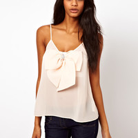 ASOS | ASOS Cami With Pearl Detail Bow Front at ASOS