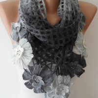 Gray Wool Crochet Scarf - Handknit - Winter Scarf