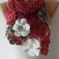 Burgundy Wool Crochet Scarf - Handknit - Winter Scarf