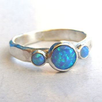 Engagement Ring -Gemstone blue opal  Mineral ring Birthstone  - Back to school silver sterling ring -Made to order