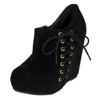 Coye! By Soda Side Lace Up Hidden Platform Wedge Ankle Bootie with Side Zipper in Black Lami Faux Suede