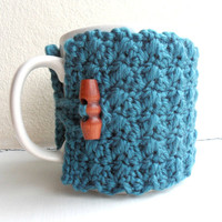 Crochet Mug Cozy Cup Cozy Teal Blue Yarn wooden by HouseOfHampton
