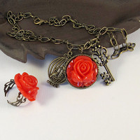 Antique bronze red rose charm necklace and by romanticcrafts