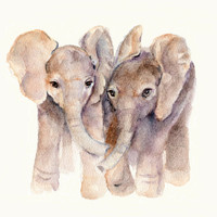 Baby Elephants print 8 X 10 from original by Marysflowergarden