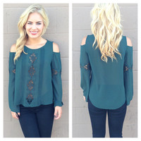 Dark Green Woven Off Shoulder Chiffon Blouse