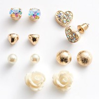 SO® Gold Tone Simulated Crystal & Simulated Pearl Heart & Flower Stud Earring Set