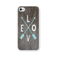 Arrows Boho Love iPhone 4 Case - Plastic iPhone 4s Case - Wood Tribal Southwest Blue Turquoise Brown White