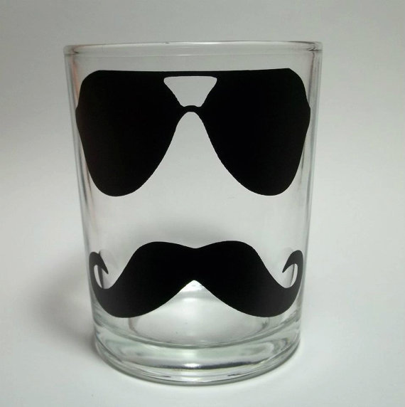 Mustache with Aviator Glasses Whiskey Glass by TheCraftyGeek86