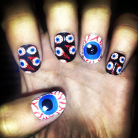 Nail decal wraps. Real nail polish strips. Halloween Spooky Eye Balls.