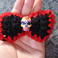 Hand painted Sugar Skull crochet bow hair clip - Day of the Dead - dia de los muertos - Halloween - glitter - black - red - hair accessory