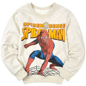 New Boy 2-12 Gray Spiderman Cotton Sweatshirt Children Hoodie Outerwear Jacket