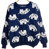 Women Girl Korean Cute Animal Pattern Elephant Crewneck Pull Over Jumper Sweater