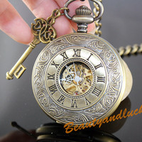 Vintage Engraved Antique Bronze Roman Mechanical Pocket Watch KEY Necklace  - Steampunk Style