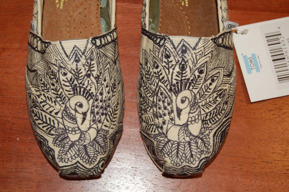 Custom TOMS  Crazy Doodle Peacocks or your by PurpleLizardStudio