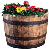 Amazon.com: Real Wood Products HWB Half Oak Whiskey Barrel Planter: Patio, Lawn & Garden