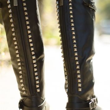 Breckelles Starting Something Studded Back Knee High Riding Boots - Black