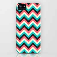 Chevron - Coral Turquoise Black iPhone & iPod Case by Jacqueline Maldonado