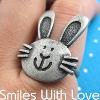 SALE Adjustable Bunny Rabbit Hare Animal Pet Ring in Silver